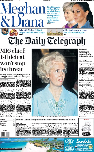 The Daily Telegraph Newspaper Front Page (UK) for 16 February 2019