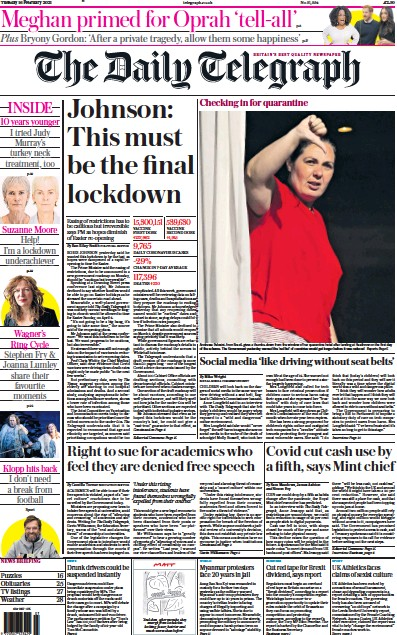 The Daily Telegraph Newspaper Front Page (UK) for 16 February 2021