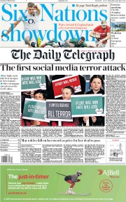 The Daily Telegraph () Newspaper Front Page for 16 March 2019