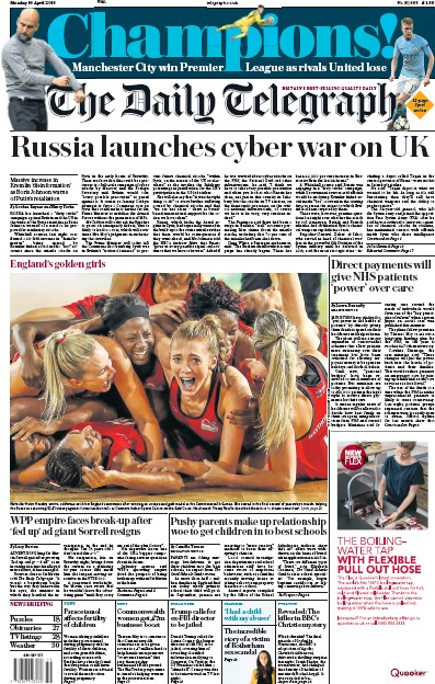 The Daily Telegraph Newspaper Front Page (UK) for 16 April 2018