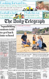 The Daily Telegraph (UK) Newspaper Front Page for 16 May 2020