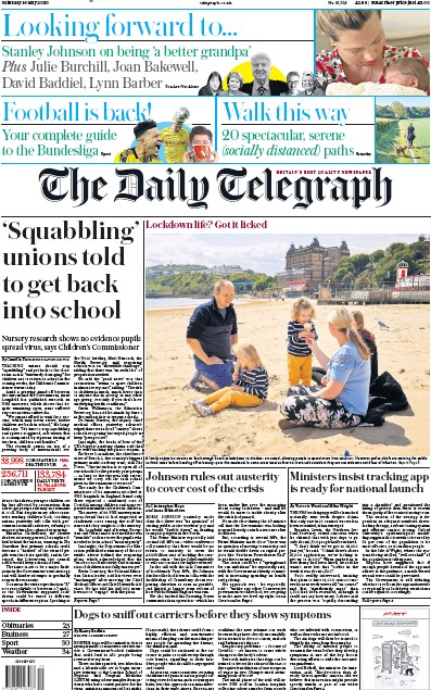 The Daily Telegraph Newspaper Front Page (UK) for 16 May 2020