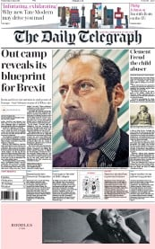 The Daily Telegraph () Newspaper Front Page for 16 June 2016