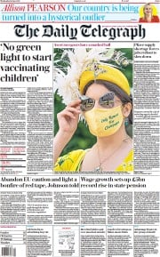 The Daily Telegraph () Newspaper Front Page for 16 June 2021