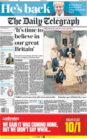 The Daily Telegraph (UK) Newspaper Front Page for 16 July 2018