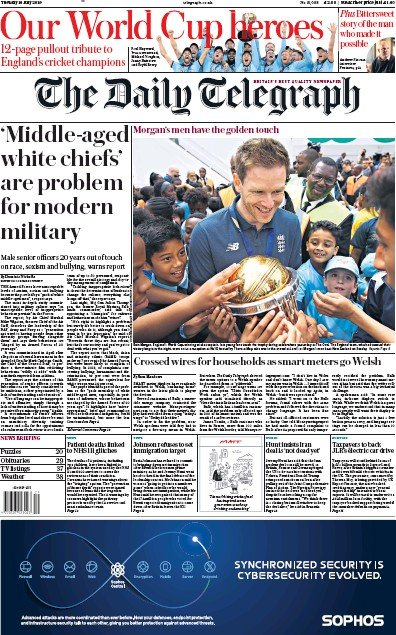 The Daily Telegraph Newspaper Front Page (UK) for 16 July 2019