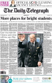 The Daily Telegraph Newspaper Front Page (UK) for 16 August 2012