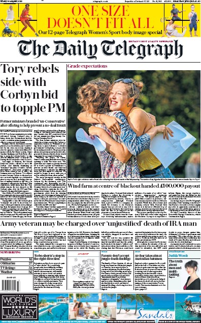 The Daily Telegraph Newspaper Front Page (UK) for 16 August 2019
