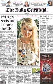 The Daily Telegraph (UK) Newspaper Front Page for 16 September 2014