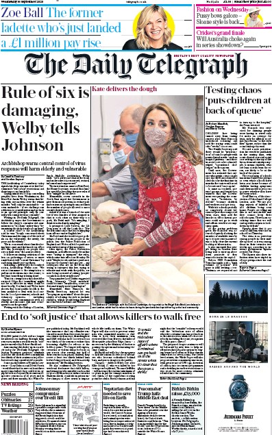 The Daily Telegraph Newspaper Front Page (UK) for 16 September 2020