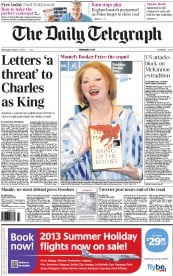 The Daily Telegraph Newspaper Front Page (UK) for 17 October 2012