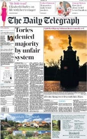 The Daily Telegraph (UK) Newspaper Front Page for 17 October 2017