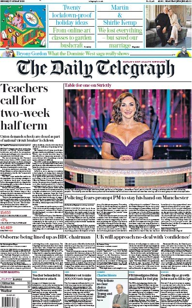 The Daily Telegraph Newspaper Front Page (UK) for 17 October 2020