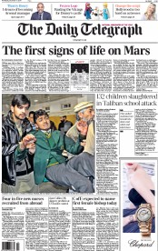 The Daily Telegraph (UK) Newspaper Front Page for 17 December 2014