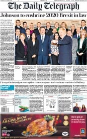 The Daily Telegraph (UK) Newspaper Front Page for 17 December 2019