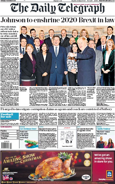 The Daily Telegraph Newspaper Front Page (UK) for 17 December 2019