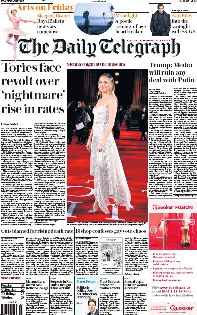 The Daily Telegraph Newspaper Front Page (UK) for 17 February 2017