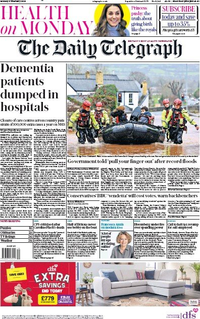 The Daily Telegraph Newspaper Front Page (UK) for 17 February 2020