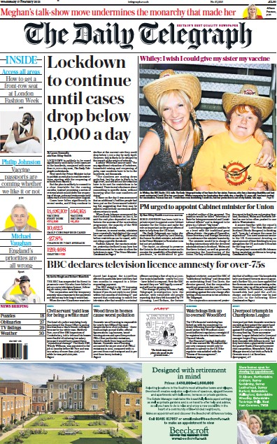 The Daily Telegraph Newspaper Front Page (UK) for 17 February 2021