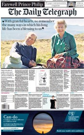 The Daily Telegraph front page for 17 April 2021