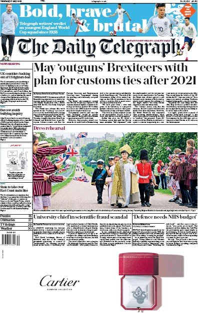 The Daily Telegraph Newspaper Front Page (UK) for 17 May 2018