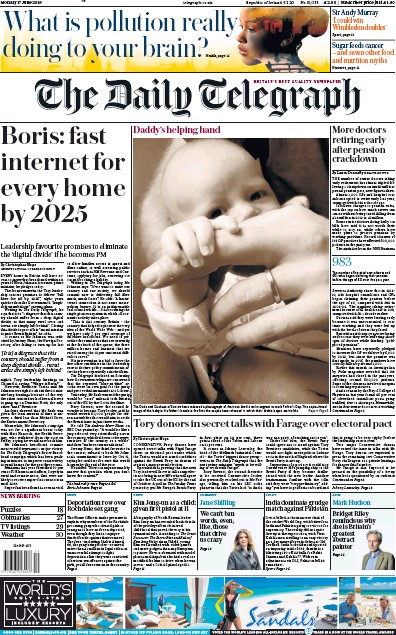 The Daily Telegraph Newspaper Front Page (UK) for 17 June 2019