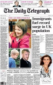 The Daily Telegraph Newspaper Front Page (UK) for 17 July 2012