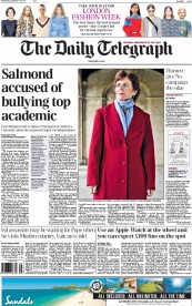 The Daily Telegraph (UK) Newspaper Front Page for 17 September 2014
