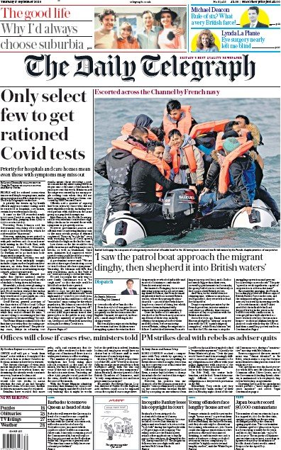 The Daily Telegraph Newspaper Front Page (UK) for 17 September 2020