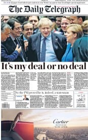 The Daily Telegraph (UK) Newspaper Front Page for 18 October 2019