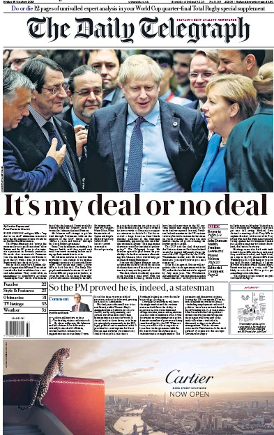 The Daily Telegraph Newspaper Front Page (UK) for 18 October 2019