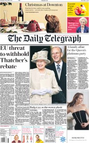 The Daily Telegraph (UK) Newspaper Front Page for 18 November 2017