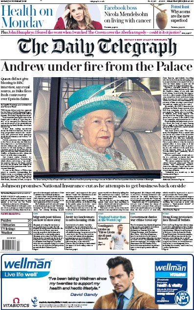The Daily Telegraph Newspaper Front Page (UK) for 18 November 2019