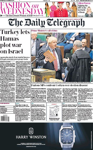 The Daily Telegraph Newspaper Front Page (UK) for 18 December 2019