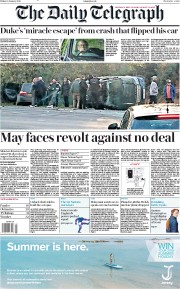 The Daily Telegraph (UK) Newspaper Front Page for 18 January 2019