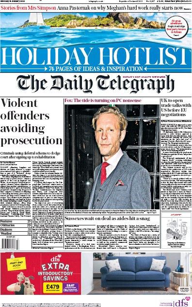 The Daily Telegraph Newspaper Front Page (UK) for 18 January 2020