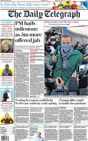 The Daily Telegraph front page for 18 January 2021