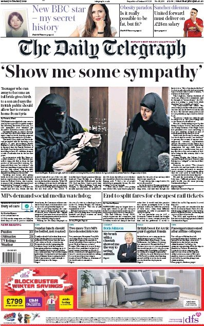 The Daily Telegraph Newspaper Front Page (UK) for 18 February 2019
