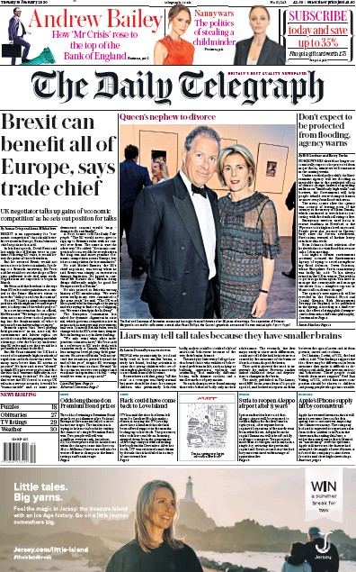 The Daily Telegraph Newspaper Front Page (UK) for 18 February 2020