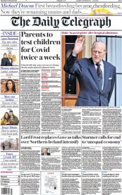 The Daily Telegraph front page for 18 February 2021