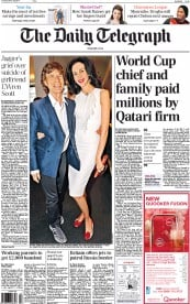 The Daily Telegraph (UK) Newspaper Front Page for 18 March 2014