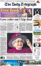 The Daily Telegraph (UK) Newspaper Front Page for 18 April 2015
