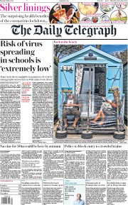 The Daily Telegraph front page for 18 May 2020