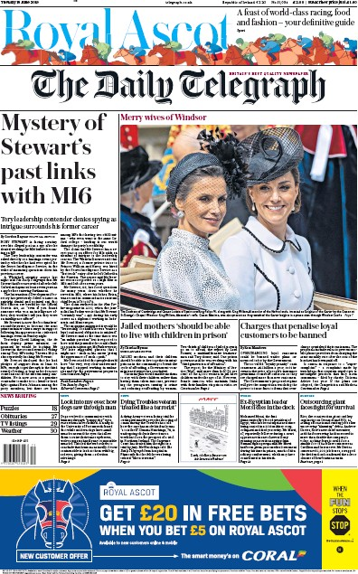 The Daily Telegraph Newspaper Front Page (UK) for 18 June 2019
