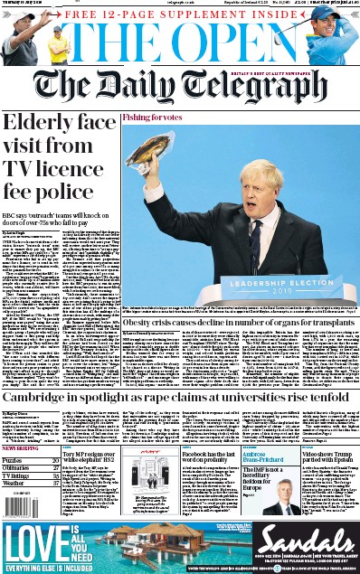 The Daily Telegraph Newspaper Front Page (UK) for 18 July 2019