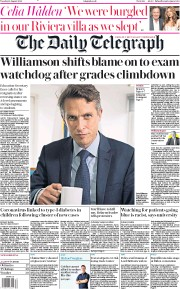 The Daily Telegraph (UK) Newspaper Front Page for 18 August 2020