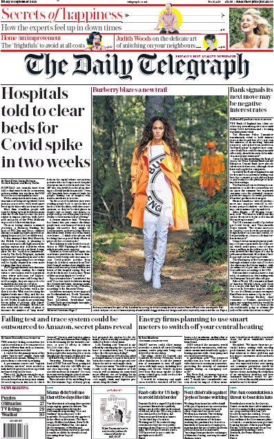 The Daily Telegraph Newspaper Front Page (UK) for 18 September 2020