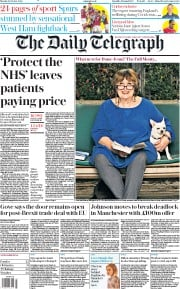 The Daily Telegraph front page for 19 October 2020
