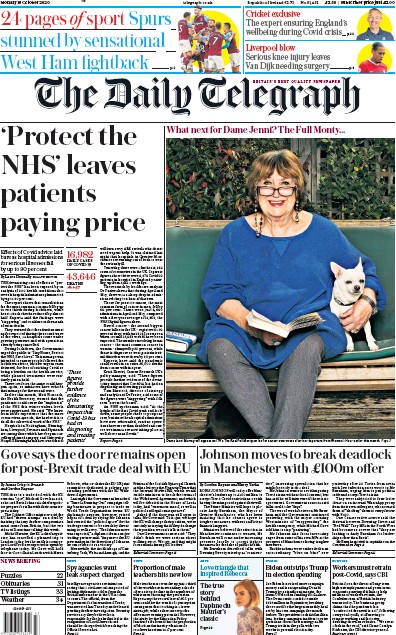 The Daily Telegraph Newspaper Front Page (UK) for 19 October 2020