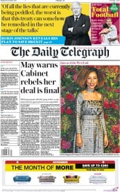 The Daily Telegraph (UK) Newspaper Front Page for 19 November 2018